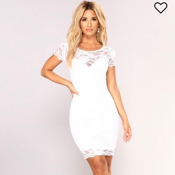 5e644a52d487 Short white lace dress